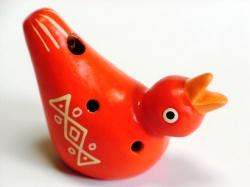 フェアトレードの小鳥のオカリナレッド